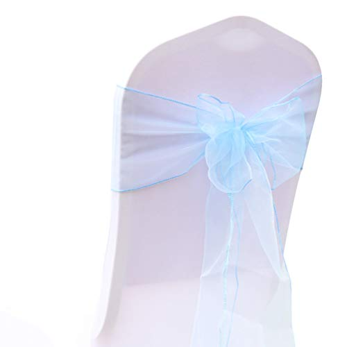 - San Tungus Pack of 100 Chair Decorative Organza Bow Sashes for Wedding Events Home Kitchen Decoration (Light Blue,7x108)