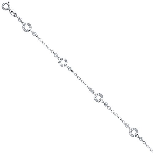 7+1 14k White Gold Bracelet with Spring Ring Clasp