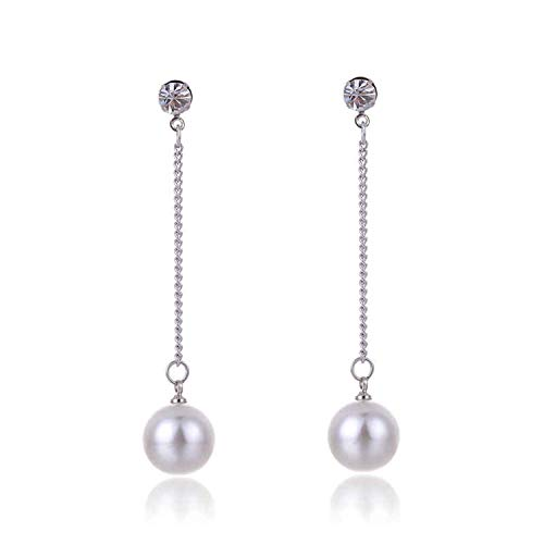 Long Fashion Dangle Simulated-Pearl Elegant Earrings for Women Link Chain Hang Beads Pendant Stud Earring White Gold Color ()