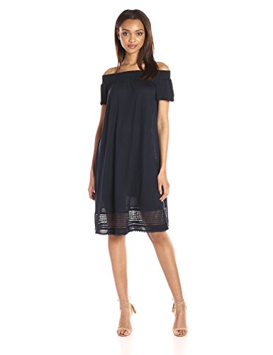 A|X Armani Exchange Women's Off The Shoulder Eyelet Knee Length Dress, Navy, - Armani Woman
