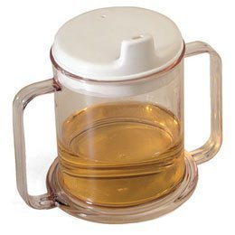 Sammons Preston Transparent Mug with Two Handles, 10 oz., Strong Plastic Cup with Bilateral Handles Enables Good Grip, Easy Lifting & Secure Hold, Wide Base Stops Tipping, Includes White Spouted Lid (Two Dish Handled)