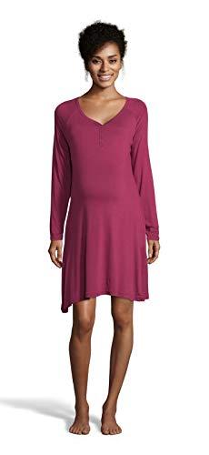LAMAZE Intimates Womens Maternity Nursing Breastfeeding Long Sleeve Nightgown Sleep Shirt Raspberry Small