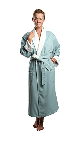 Terry Lined Microfiber Hotel Robe - Luxury Spa Bathrobe in Sage/Small by Monarch/Cypress