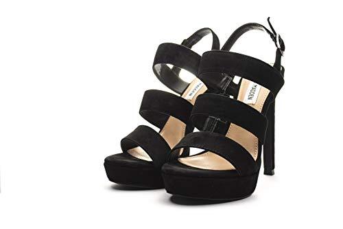 Abierta Zapatos Con Madden Punta Steve Glam Nero Tacón Mujer Para black Suede De qE0nx6w1