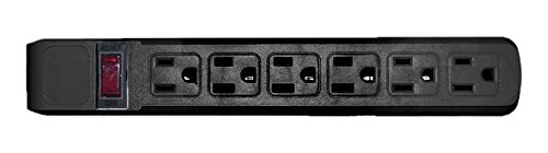 C&E Surge Protector, Flat Rotating Plug, 6 Outlet, Horizontal Outlets, Plastic, Power Cord, 15 Feet, Black, CNE471377