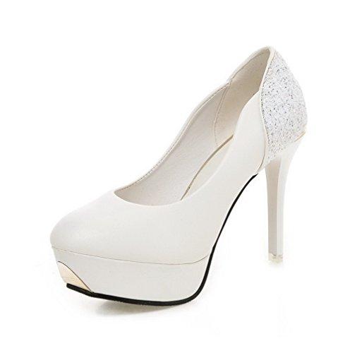 VogueZone009 Damen Rein PU Hoher Absatz Rund Zehe Ziehen auf Pumps Schuhe Weiß