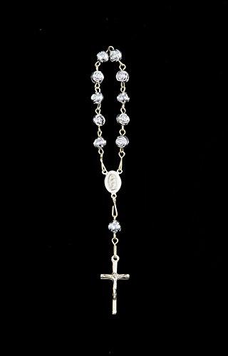 """72pcs 5"""" Mini Rosary Bracelet Baptism Favor Silver Rose Bead"""