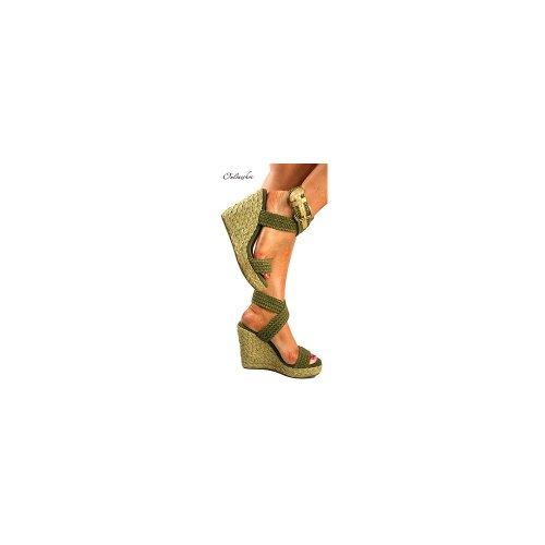 Ella Donna Sandali Alti Con Cinturini Incrociati Con Zeppa Color Crema