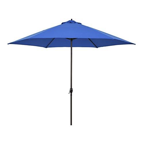 Astella 11' Rd Crank Open Aluminum Market Umbrella, Pacific Blue