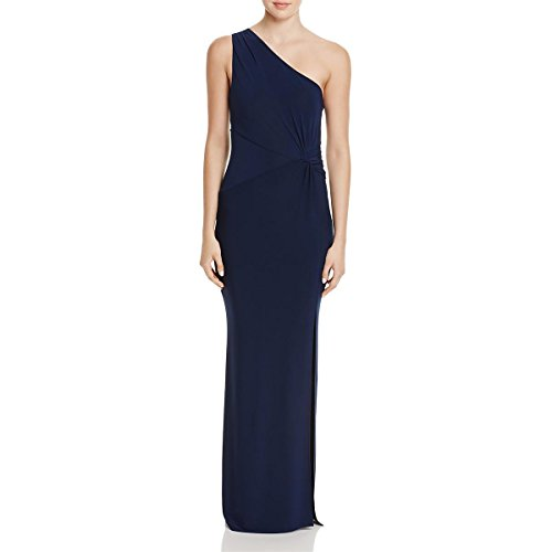 Laundry by Shelli Segal Women's One Shoulder Jersey Gown with Waist Twist, Midnight, 6