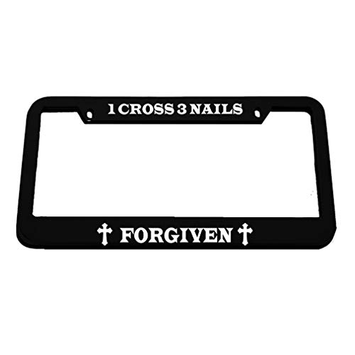 Speedy Pros 1 Cross 3 Nails Forgiven Zinc Metal License Plate Frame Car Auto Tag Holder - Black 2 Holes ()