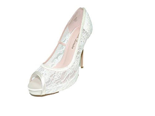 Lauren Lorraine Edie Women's Ivory Peep Toe Dress Lace Pumps Shoes Prom Wedding, Brides Evening Shoes size 10 M
