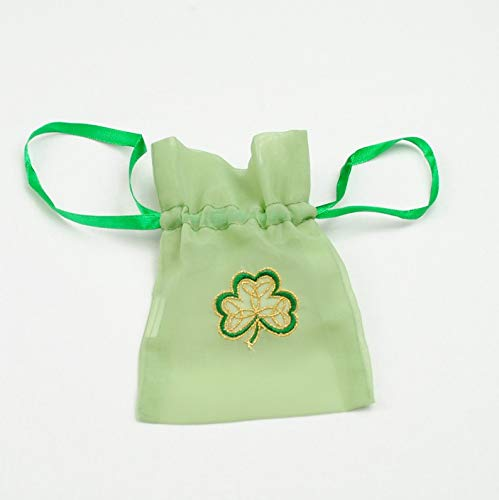 Gift Bag in an Irish Shamrock Design. Beautifully embroidered gift bags, ideal for St Patrick's Day, Irish weddings and celebrations ()
