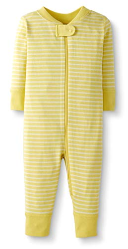 Moon and Back by Hanna Andersson Baby/Toddler One-Piece Organic Cotton Footless Pajamas, Yellow Stripe , 3T ()