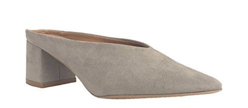 WULFF 01! Women's Pointed Toe Suede Chunky Heel Slip On Mules
