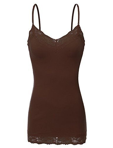 RT1004 Ladies Adjustable Spaghetti Strap Lace Trim Long Tunic Cami Tank Top Brown L ()