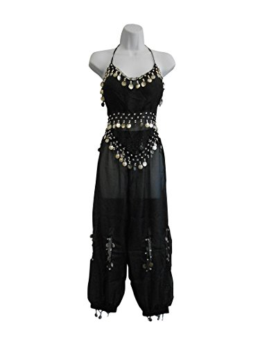 Professional Belly Dance Multi-Color Genie Belly Dance Costume for Women Halloween Costumes of Adults Hot Belly Dancer Skirt Black w/ Silver (Black Genie Costume)