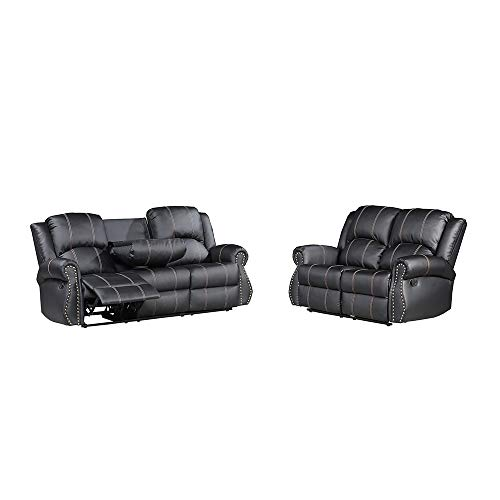 Mecor 2 PC Living Room Sofa Set,Bonded Leather Recliner Gold Thread Reclining Motion 3-Seat Sofa, Loveseat Cup Holder Black