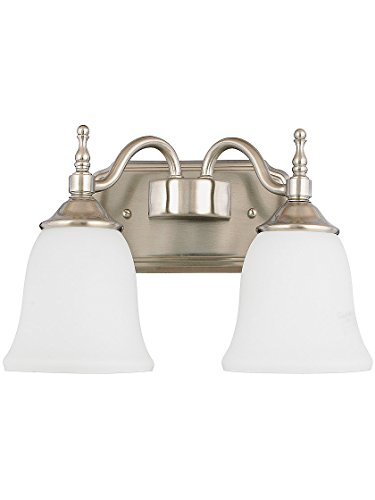 - Tritan 2 Light Sconce With Opal Glass Shades in Brushed Nickel