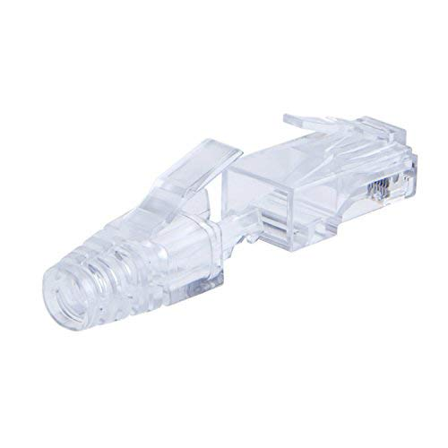 CableCreation 100-PACK Cat 6 RJ45 Plug with Hood Connector, Transparent