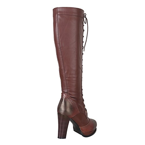Vintage Sheepskin + PU Leather Lace Up Stacked Heel Knee High Casual Boots Shoes Ty446LGVd