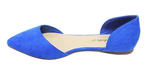 Breckelles Dolley-43 Dames Spitse Teen Close-up Ballet Stijl Dorsay Casual Plat Suède Schoenen Blauw