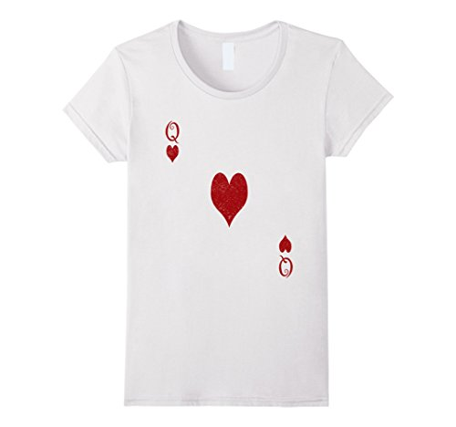 Queen Of Hearts Halloween Costume Makeup (Womens Queen of Hearts Tshirt Costume - Distressed Royal Flush Large White)
