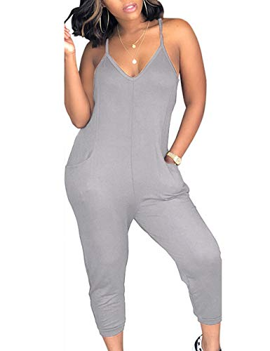 - ECDAHICC Women's Punk V Neck Spaghetti Strap Loose Jumpsuits Harem One Piece Colorful Off Shoulder Rompers Beach Club(GY-3XL) Gray