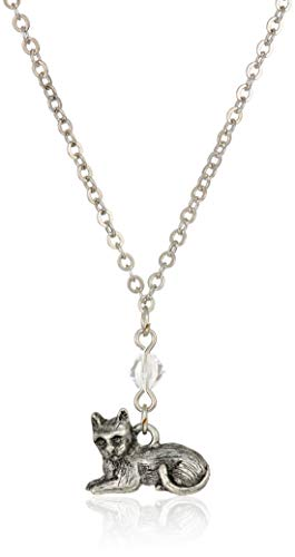 1928 Jewelry Women's Pewter Cat Drop 16 inch Necklace, Silver, One Size