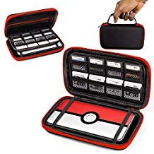 2DS XL Case, Orzly Carry Case for New Nintendo 2DS XL - Protective Hard Shell Portable Travel Case Pouch for New 2DS XL Console with Slots for Games & Zip Pocket - RED on Black (Pokeball Ds Game Case)
