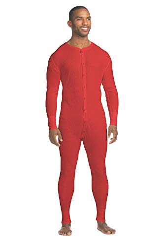 Hanes Men's Waffle Knit Thermal Union Suit with FreshIQ, X-Temp Technology & Organic Cotton Red