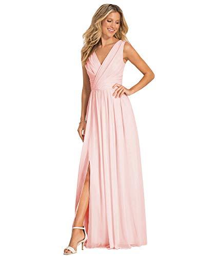 Women's V Neck Slit Floor Length Chiffon Party Gown Formal Evening Bridesmaid Dress Blush US8 (Chiffon Floor Length Gown)