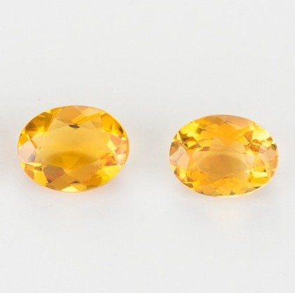 12 mm / 9.0 Ct / Pair Fine Oval Facet Orange Yellow Citrine Gemstones from (Pear Citrine Pendant)