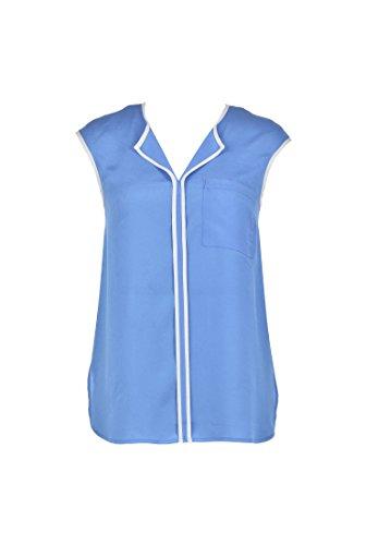 eShakti Women's Notch neck contrast trim crepe blouse XL-18 Regular Lavender/white