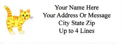 90 Self Adhesive Yellow Tabby Cat Address Labels 1