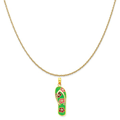 14k Yellow Gold Enameled Flowers on Green Flip Flop Pendant on 14K Yellow Gold Rope Necklace, 18