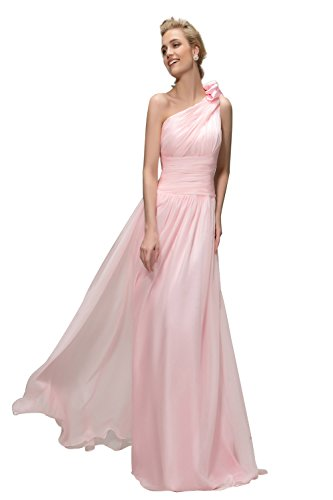 Sisjuly Womens One Shoulder Long Chiffon Prom Gown Bridesmaid Dress US2 Pink