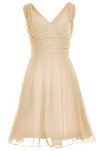 di Champagne breve MACloth onore donne a vestito Cocktail da d' nozze festa da Backless damigella V abito scollo Xx7FxBT