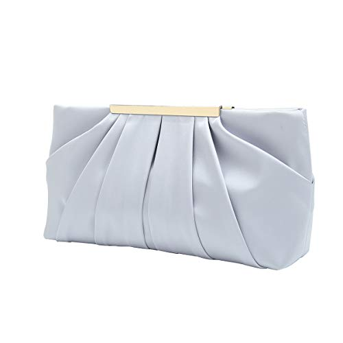 Satin Bridal Handbag - Charming Tailor Clutch Evening Bag Elegant Pleated Satin Formal Handbag Simple Classy Purse for Women (Silver)