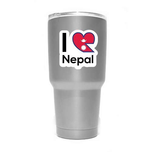 MKS0275 Love Nepal Flag Decal Sticker Home Pride Travel Car Truck Van Bumper Window Laptop Cup Wall Two 3 Inch Decals