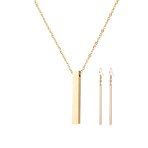 Simple Vertical Bar Stick Necklace Pendant Stainless Steel Long Stick Hook Earrings Jewelry for Women Girls(Gold/Necklace+Earrings)