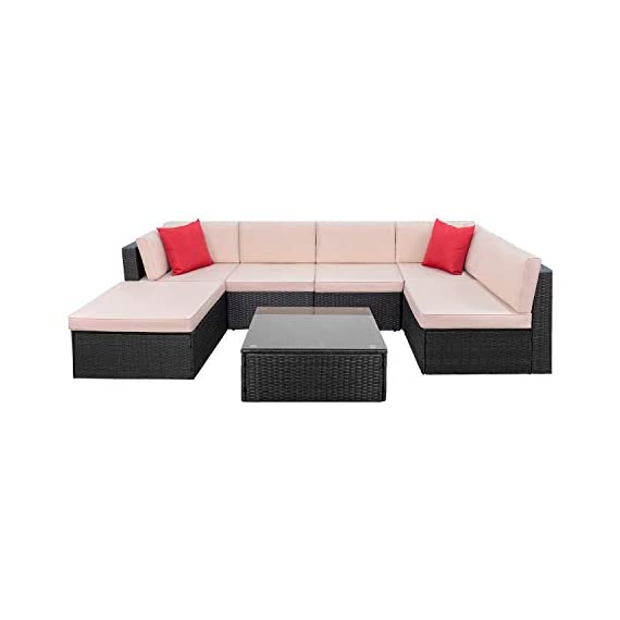 Tuoze 7 Pieces Patio Furniture Sectional Set Outdoor All-Weather PE Rattan Wicker Lawn Conversation Sets Cushioned Garden Sofa Set with Glass Coffee Table (Brown) - Solid & Durable: Outdoor patio furniture sets made of high quality PE rattan wicker which has the advantages of high tensile strength, water resistance, long service life and so on. Solid mechanical structure frames improve stability, which is strong enough to withstand all-weather. Comfortable & Convenient: The thicker sponge cushions and backrests fill with high-density foam, which provide extraordinary comfort while relaxing in your leisure time. The cushion covers are made of superior fabric, which is durable and washable. Special Design: The removable tempered glass adsorbs four suckers to enhance bearing capacity which is easy to clean, and provides much convenience. Foot screws keep the sofas more stable, and which have a super wear resistance. - patio-furniture, patio, conversation-sets - 31V6snnbPBL. SS570  -
