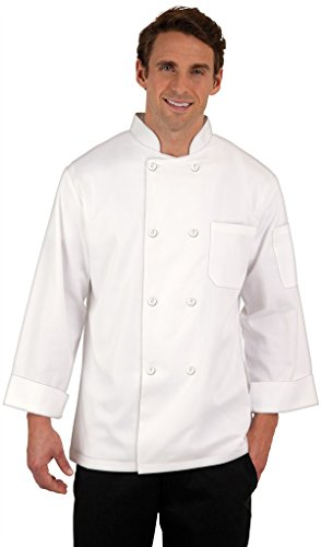 8 Button Chef Coat - 8 Button Chef Coat White, with Free Red Bib Apron and Chef Hat (M)
