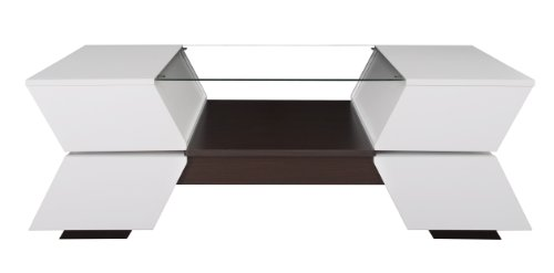 (ioHOMES Ariadne 4-Compartment Coffee Table with Glass Insert, White and Walnut Finish )