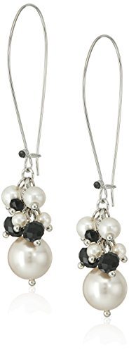 Silver Tone Simulated Cream Pearl and Black Cluster Euro Wire Earrings - Pearl Euro Wire Earrings