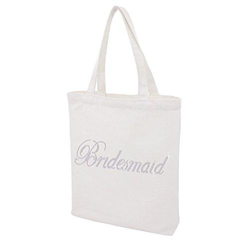 Crystal Bridesmaid Tote bag, Bridal Party Wedding Gifts Custom Rhinestone Bachelorette Cotton Bags (Crystal - Bridesmaid) (Bachelorette Crystal)