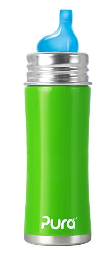 Pura Kiki Stainless Sippy Bottle Stainless Steel with XL Sipper Spout, 11 Ounce, Spring Green, 6 Months+