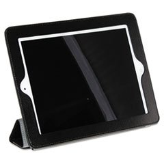buxton-oc269i22bk-magnetic-rollback-ipad-cover-pebbled-faux-leather-black-gray-interior