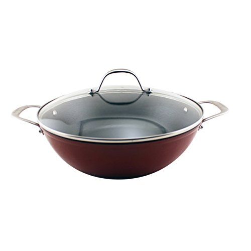 BergHOFF Red 11.75-inch Light Cast Iron Metal Braiser