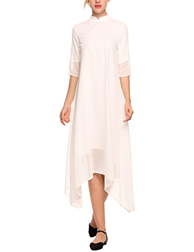 AL'OFA Chinese Dress Stand Collar Solid Color Robe A-Line Party Dress Gown White XL ()